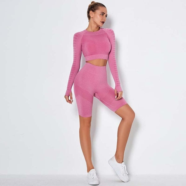 Women's Seamless Tracksuit with Striped Long Sleeve Top and Push Up Shorts for Running, Yoga, Gym and Other Sports