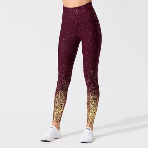 Women's High Waist, Push Up Stamping Yoga Pants with Golden Print for Sports, Workout and more