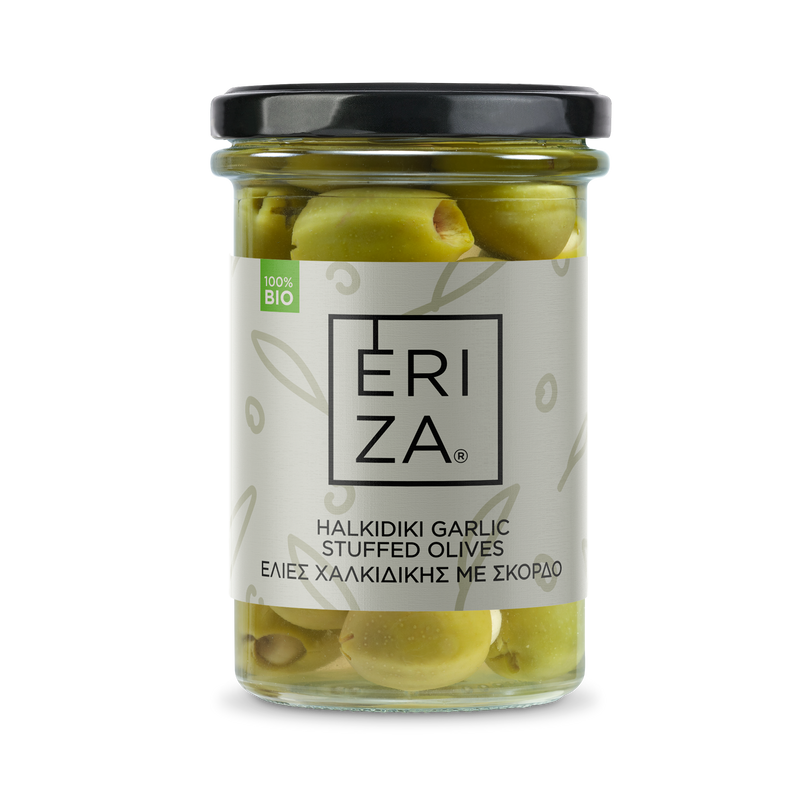 Organic Halkidiki Garlic Stuffed Olives 165g