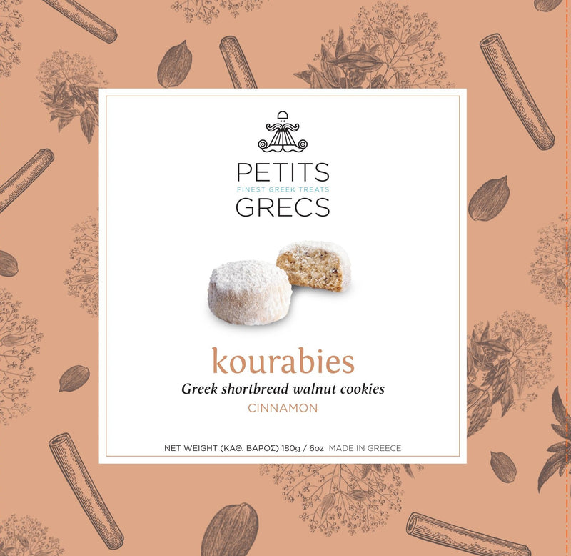 """Kourabies Kanela"" Greek Shortbread Walnut Cookies with Cinnamon 180g"