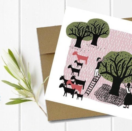 Olive Grove Greeting Card with Kraft Envelope