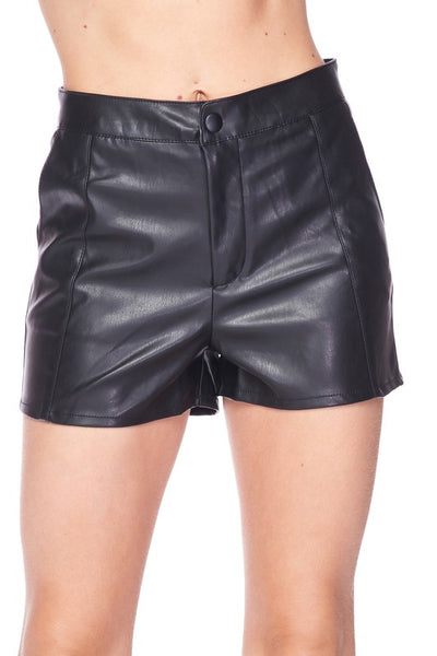 Perfectly Unique Boutique  Black Faux Leather Shorts