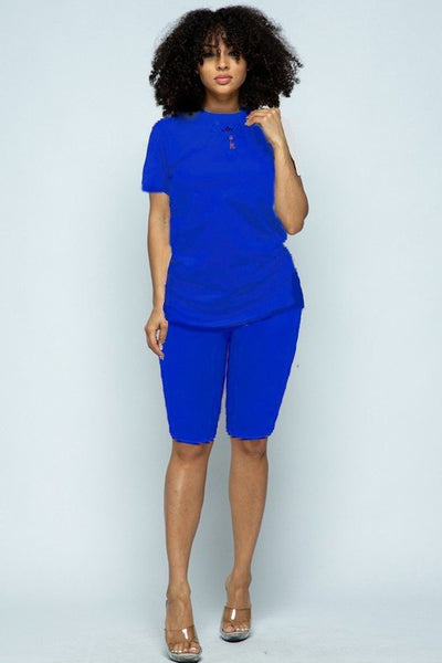 """Essential"" Biker Short Set - Royal Blue"