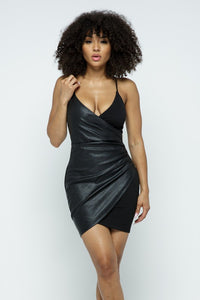 """Leather Up"" Side Zip Dress"