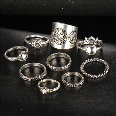 9 Piece Gypsy Style Rings