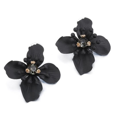 Sexy Black Petal Earrings