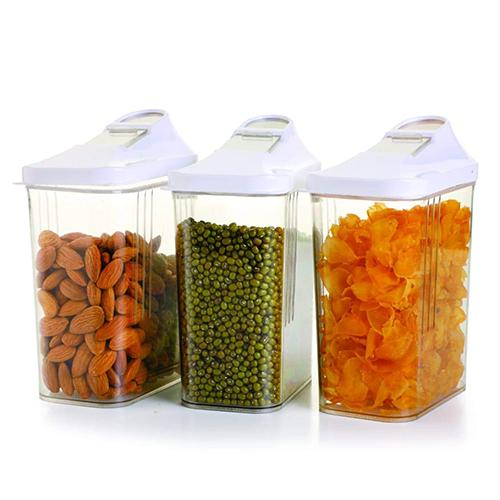 2165 Transparent Plastic Air Tight Food Storage Container Jar Dispenser for Kitchen - 750 ml (Set Of 3) - DeoDap