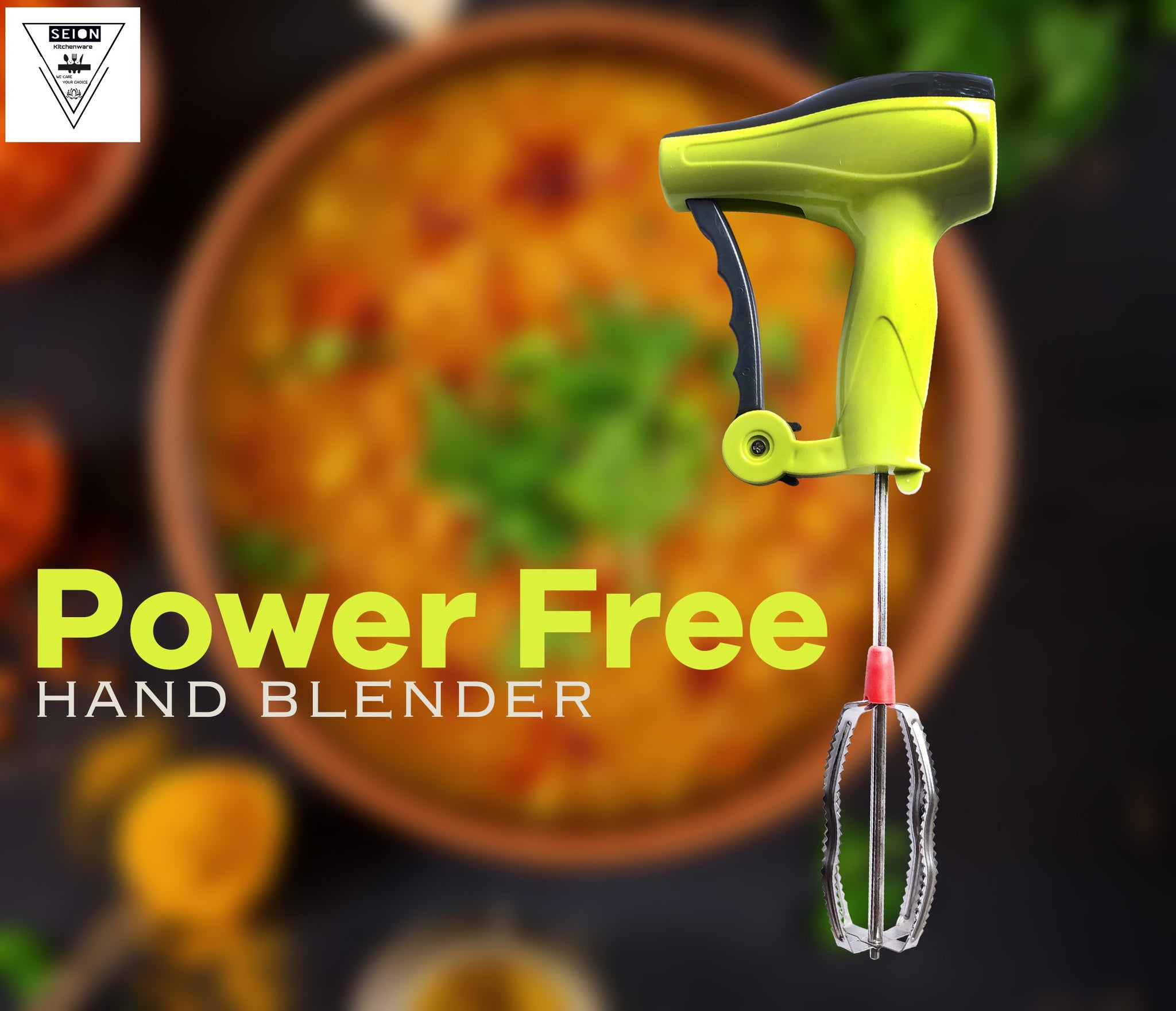 Power-Free Manual Hand Blender With Stainless Steel Blades