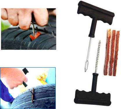 Puncture Repair Kit Tubeless Tyre Full Set with Nose Pliers, Rubber Cement and Extra Strips for Cars, Bikes