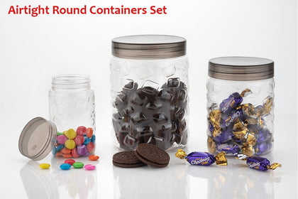 3pcs Stone Jars Set (Big 1200ml, Medium 600ml & Small 250ml size)