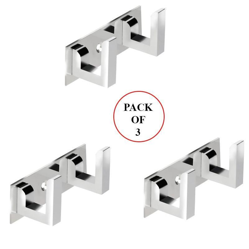 2 Pin  Cloth Hanger Bathroom Wall Door Hooks For Hanging keys,Clothes Holder Hook Rail  (Pack of 3)