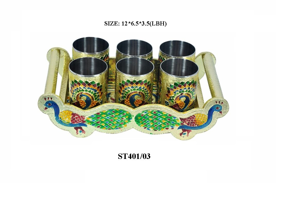 Peacock Design Glass with Handle and Handicraft Serving Tray Set