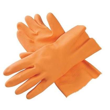 Cut Glove Reusable Rubber Hand Gloves (Orange) - 1 pc