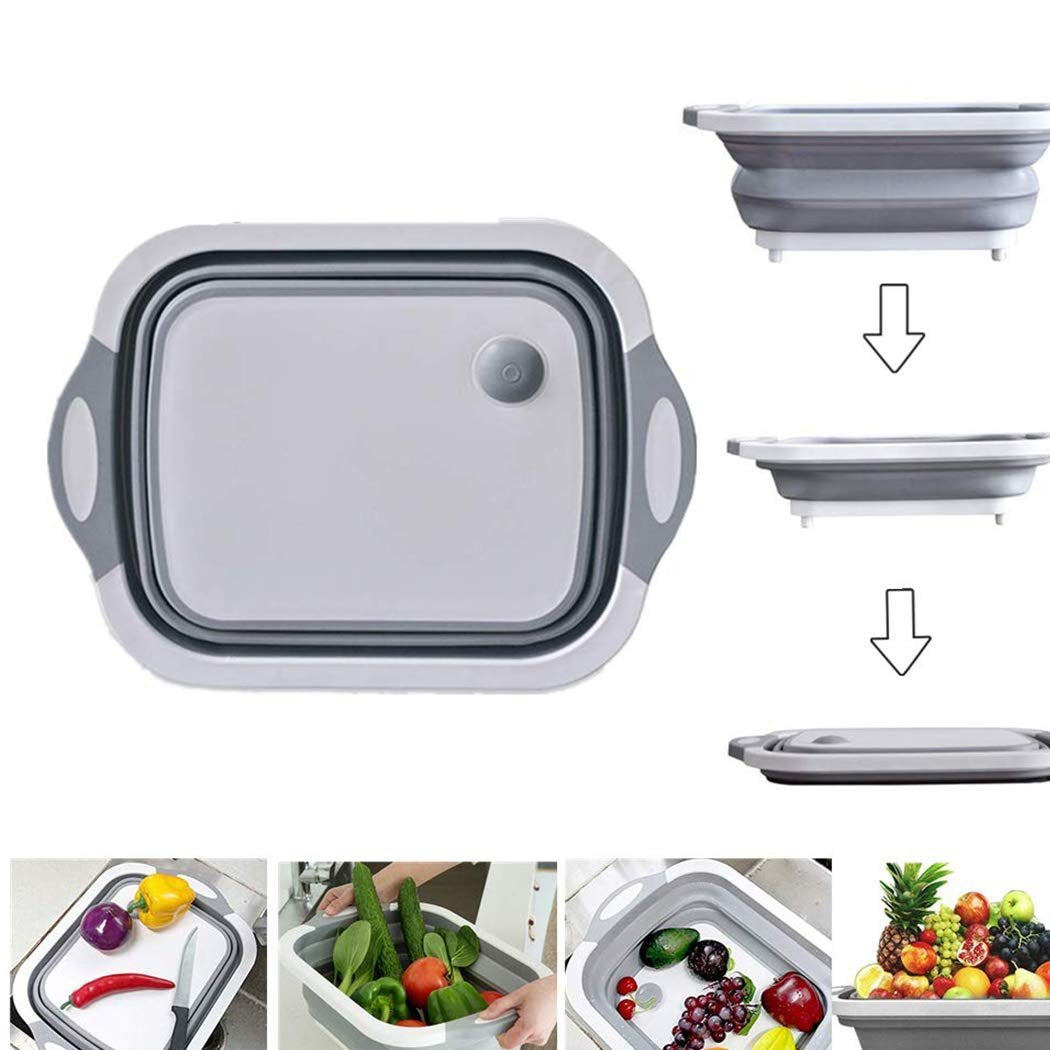 Foldable Chopping Board, Dish Rack, Washing Bowl & Draining Basket, 3in1 Multi-Function