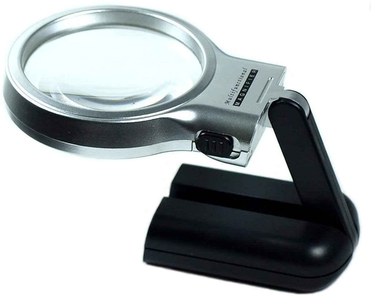 Multifunctional 3-in-1 Hand-Held Folding Lighted High-Powered Magnifier Glass with 3X Zoom and 2 LED Lights