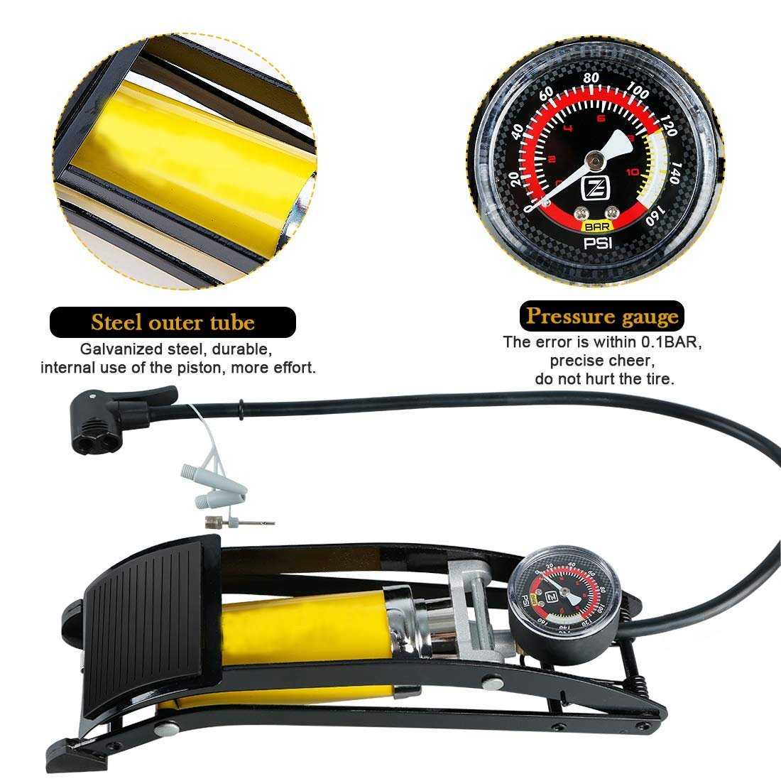 Portable High Pressure Tire 116 psi Air Pump Foot Inflator with Gauge