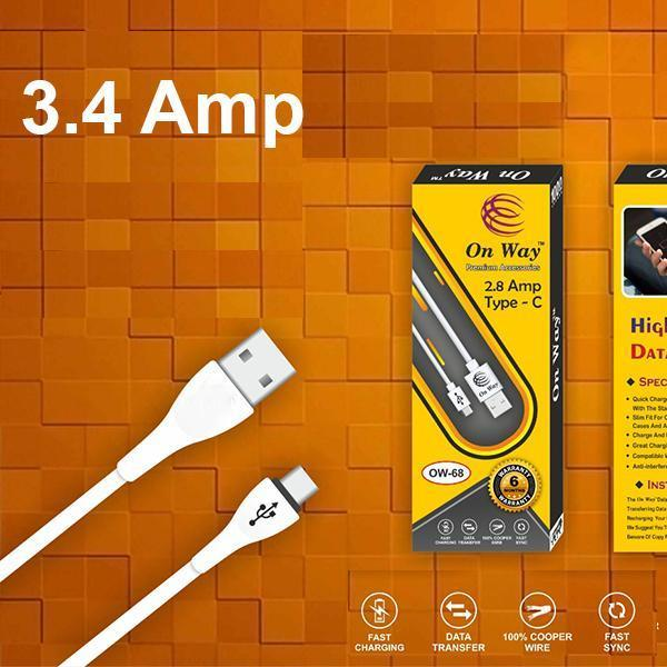 Premium 3.4 Amp Fast Charging 1 m USB Type-C Cable