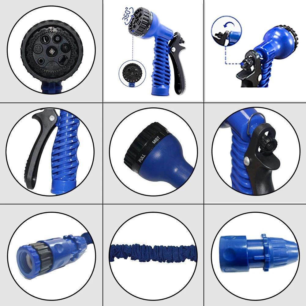 50 Ft Expandable Hose Pipe Nozzle For Garden Wash Car Bike With Spray Gun
