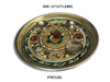 Stainless Steel Pooja thali Decorate with Golden Chain Colourful Diamond Chain Pearl Fancy Stones