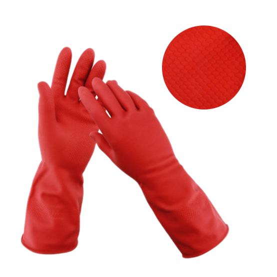 Flock line Reusable Rubber Hand Gloves (Red) - 1pc