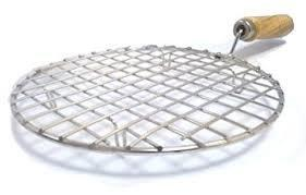 Kitchen Round Stainless Steel Roaster Papad Jali, Barbecue Grill with Wooden Handle