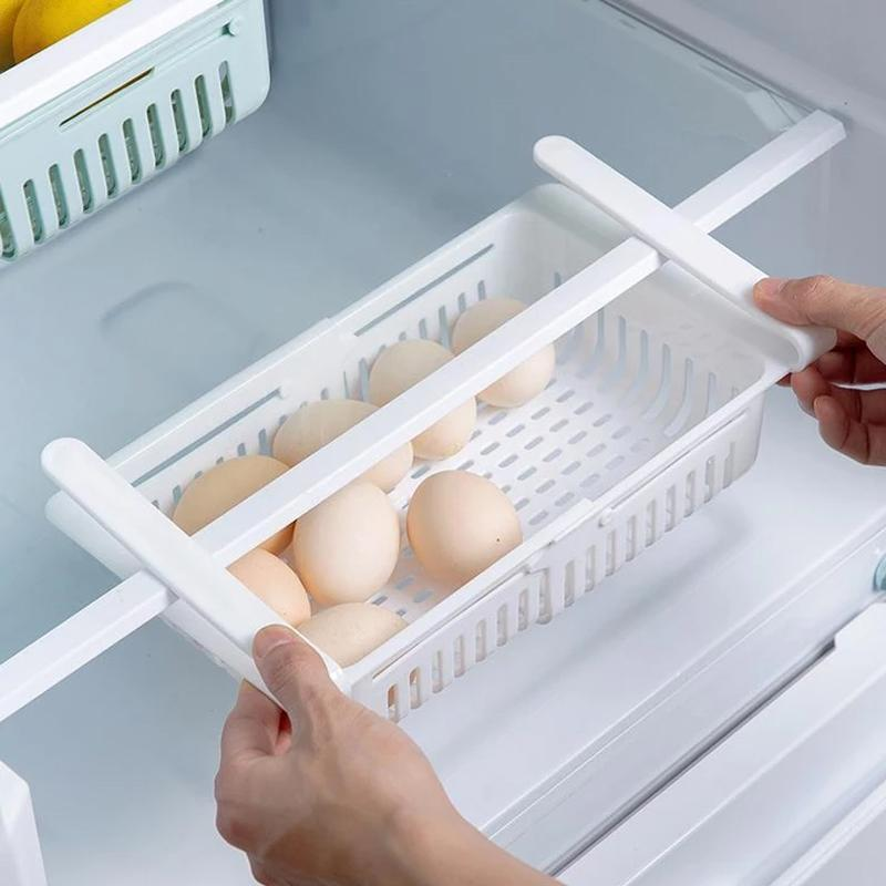 Adjustable Fridge Storage Basket, Fridge Racks Tray Sliding Storage Racks