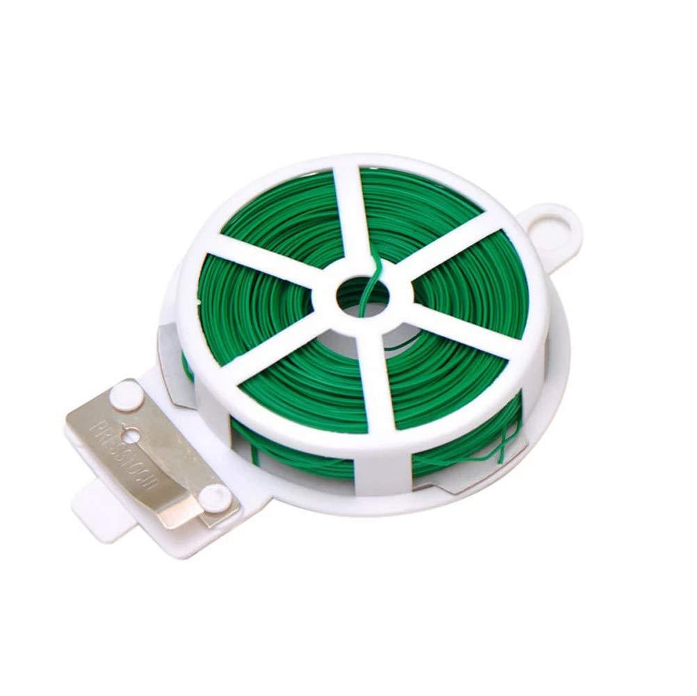 Plastic Twist Tie Wire Spool With Cutter For Garden Yard Plant 50m (Green)