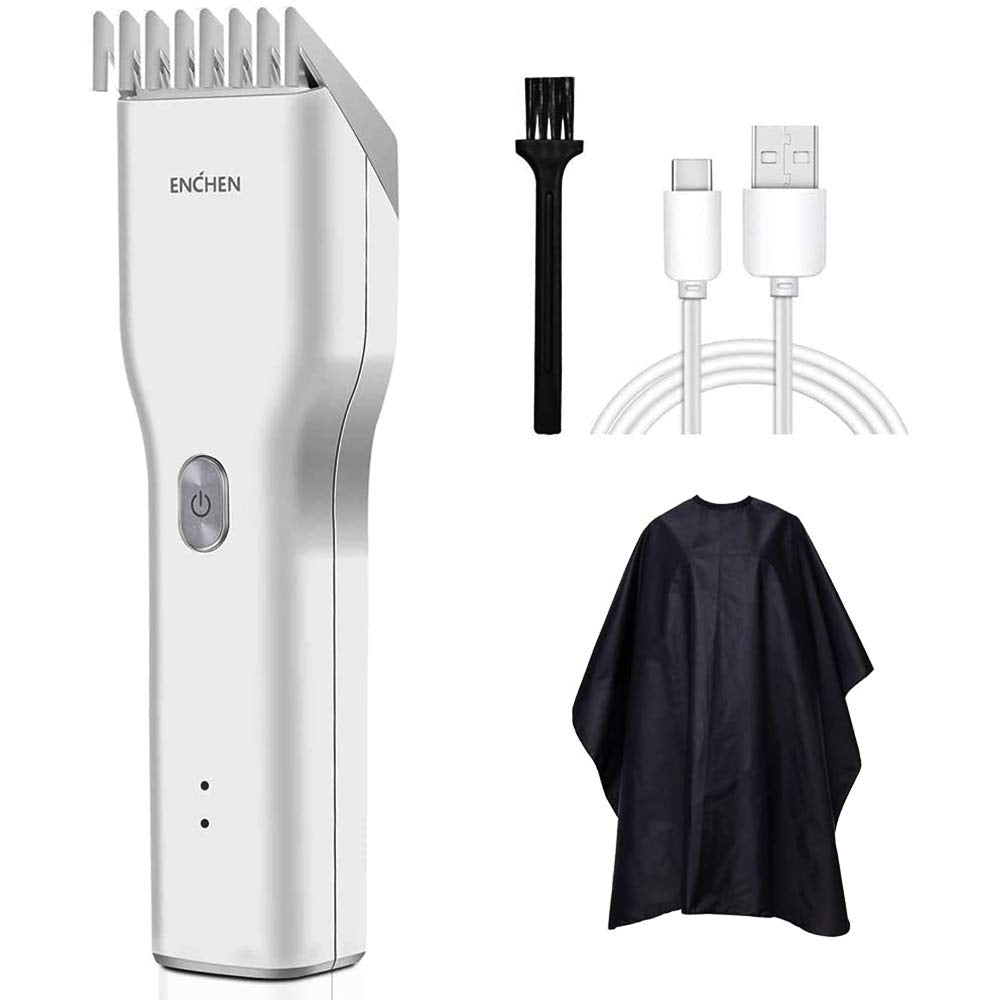 ENCHEN Electric Hair Clippers for Men, Professional Cordless Head Shaver USB Rechargeable Men's Hair Clippers One Button Locks Haircut Lengths from 0.7-21mm for Family Use (USB Cable Included) (White)