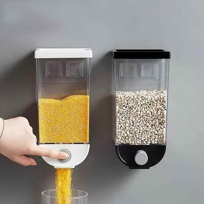 Wall Mounted Cereal Dispenser Tank Grain Dry Food Container (1500ML) (Multicolour)