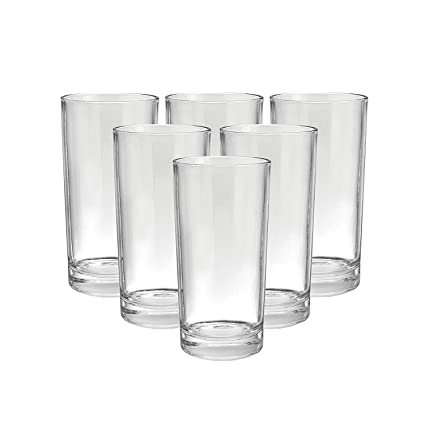 Heavy unbreakable Plastic Stylish look fully Transparent Large Glasses Set 300ml (6pcs)