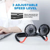 Portable USB Battery Rechargeable Mini Fan - Headphone Design Wearable Neckband Fan