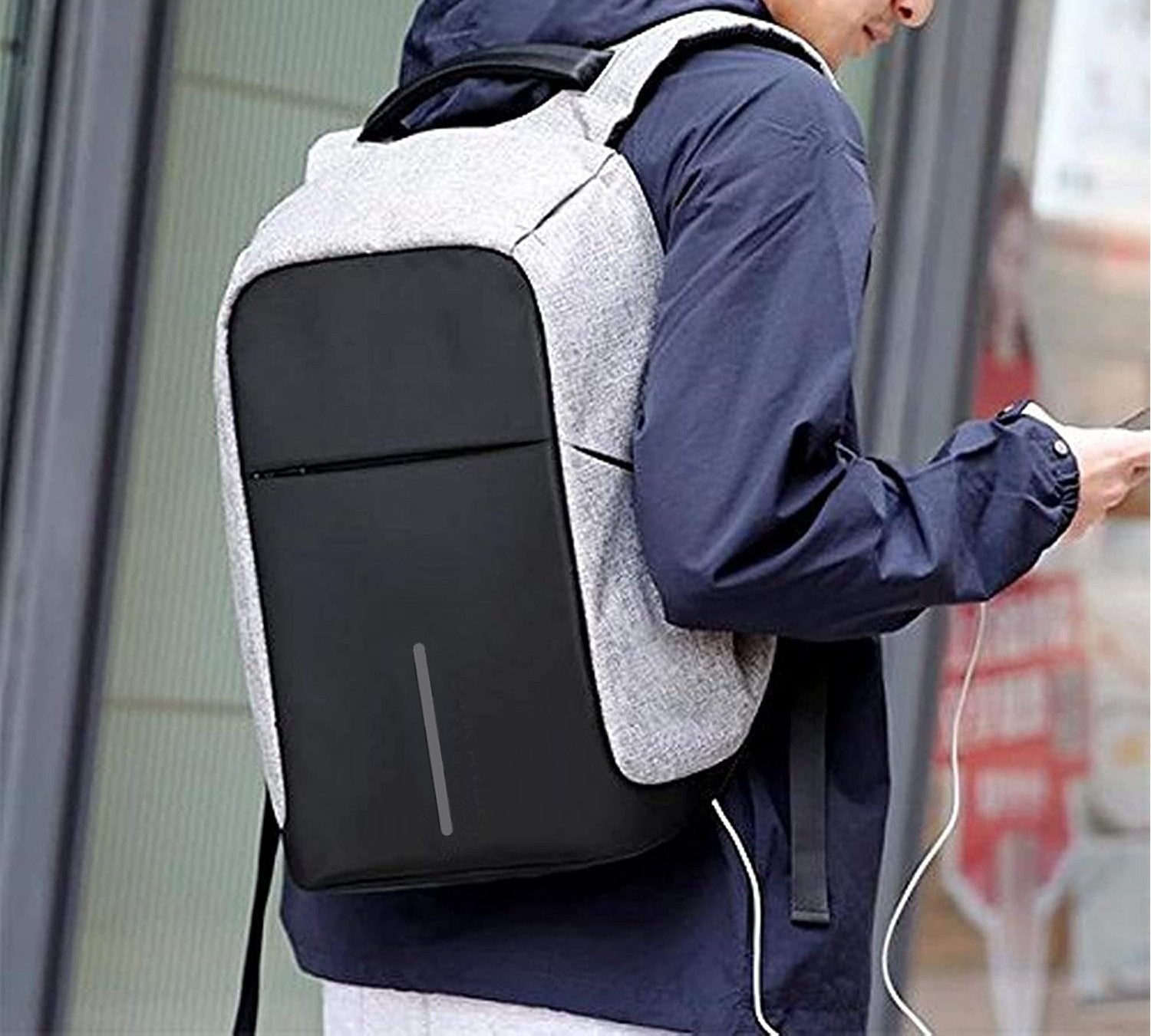 Smart Grey Laptop Backpack with USB Plug Charging Port
