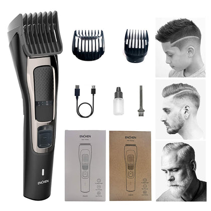 ENCHEN SHARP3S Hair Trimmer, with 2 Adaptable Combs, Self Sharp T Shaped Blades, USB Fast Charging, Cordless Hair Trimmer Runtime: 120 Minutes Hair Trimmers Runtime: 120 Minutes