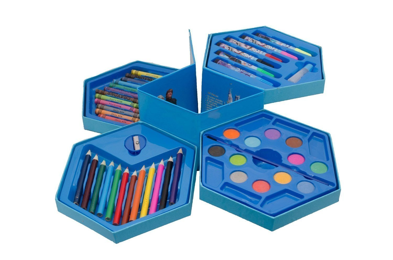 46 Pcs Plastic Art Colour Set with Color Pencil, Crayons, Oil Pastel and Sketch Pens
