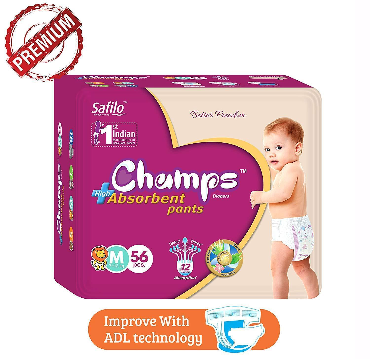 Premium Champs High Absorbent Pant Style Diaper Medium Size, 40 Pieces (952_Medium_40)