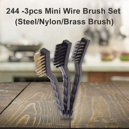3pcs Mini Wire Brush Set (Steel/Nylon/Brass Brush)