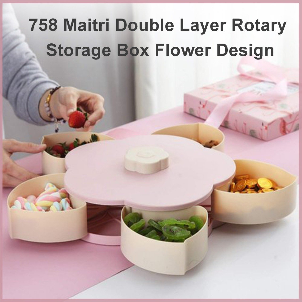 Double Layer Rotary Storage Box Flower Design Wedding Snack 10 Grid Candy Box