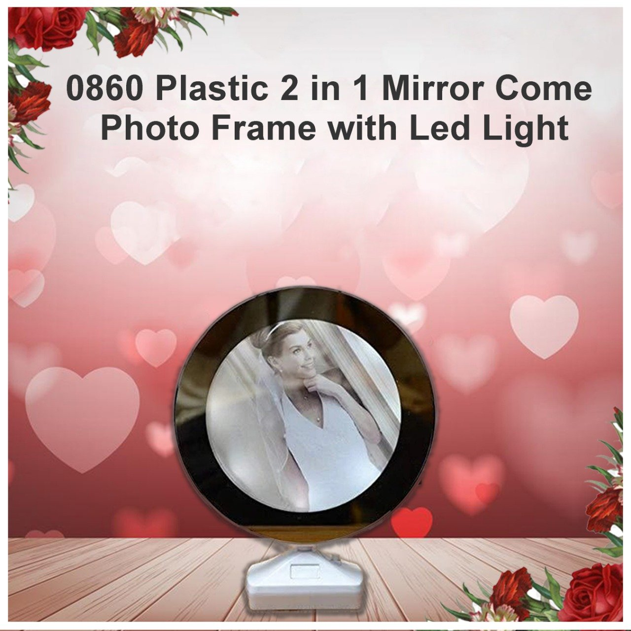 Plastic 2 in 1 Mirror Come Photo Frame with Led Light
