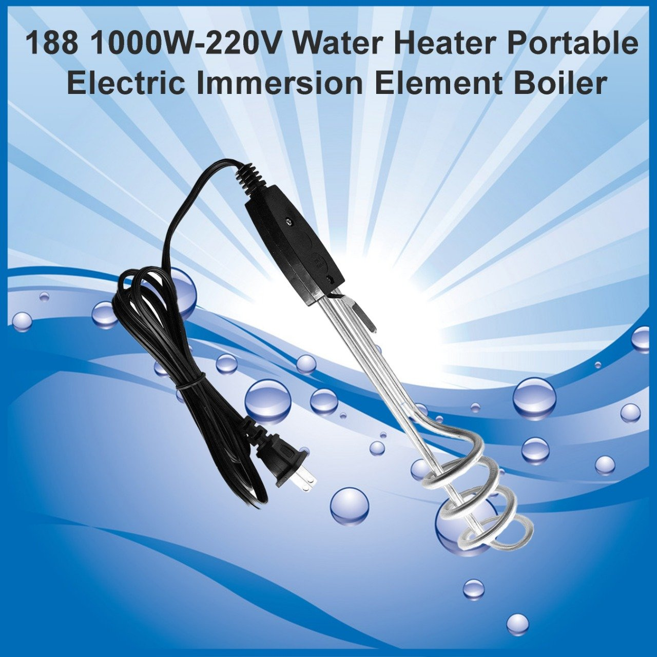 1000W-220V Water Heater Portable Electric Immersion Element Boiler