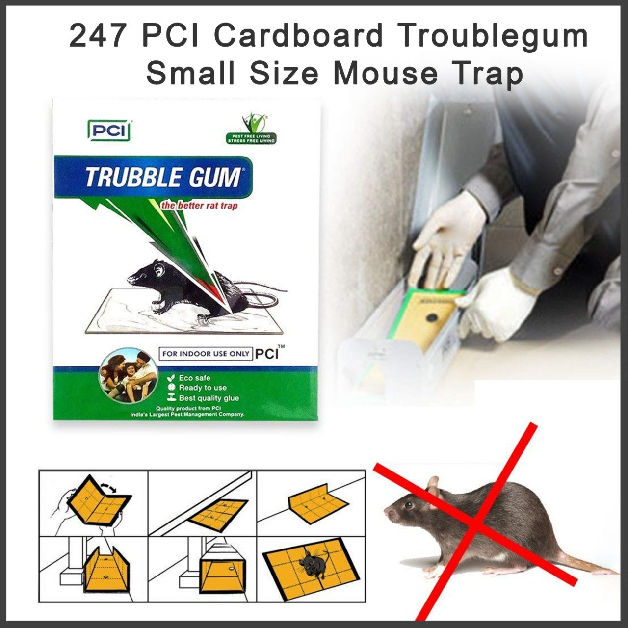 PCI Cardboard Troublegum Small Size Mouse Trap-1pc