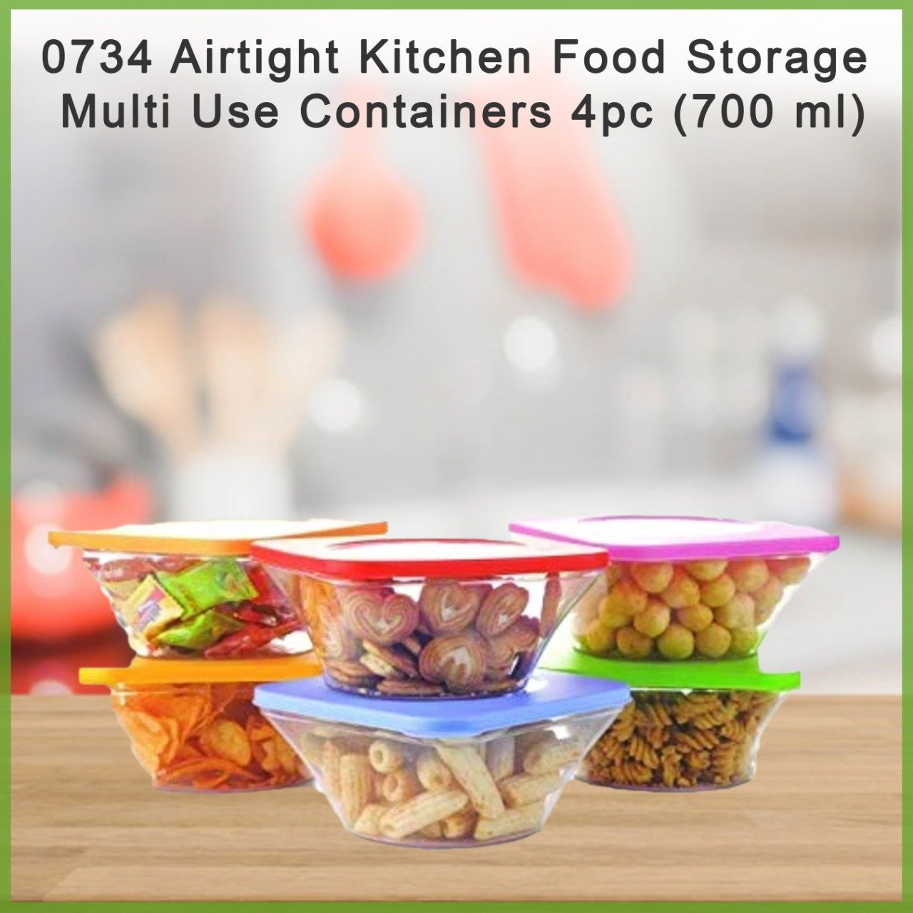 Airtight Kitchen Food Storage Multi Use Containers 4pc (700 ml)