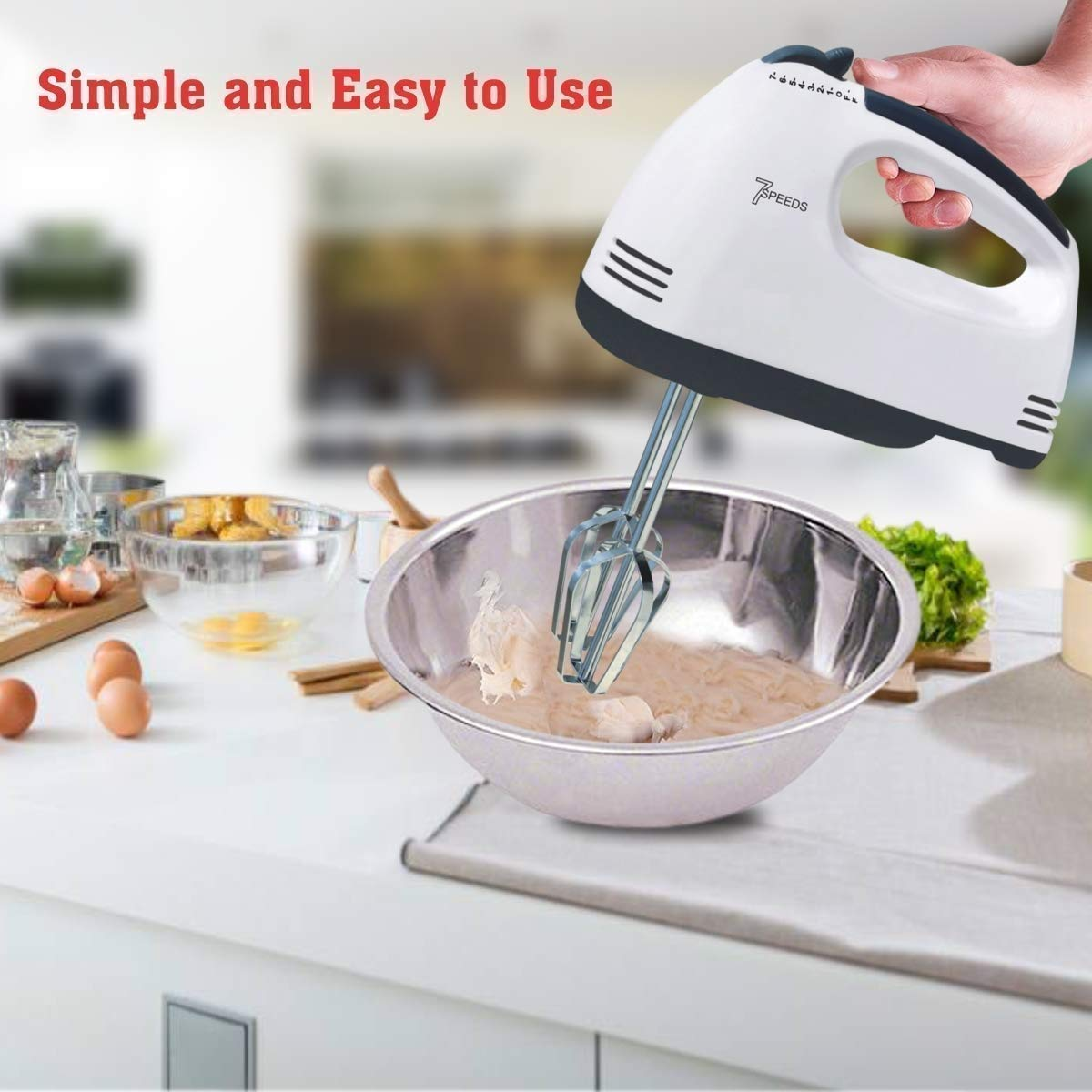 Compact Hand Electric Mixer/Blender for Whipping/Mixing with Attachments