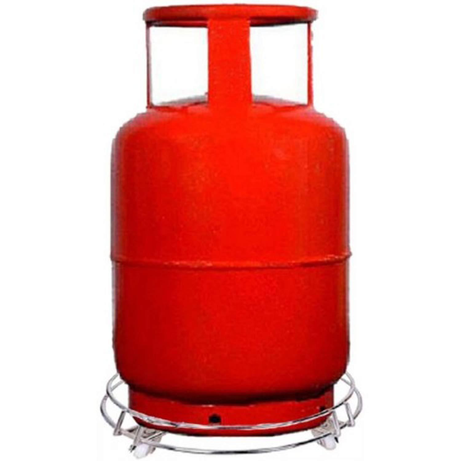 Stainless Steel Gas Cylinder Trolley with Wheels LPG Cylinder Roller Stand Movable Trolley