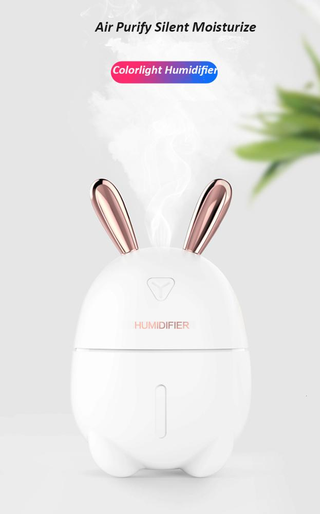 Cute Deer Rabbit Nano Atomized Humidifier Night Light USB Charging Aromatherapy Essential Oil Diffuser Mist Maker Air Purifier
