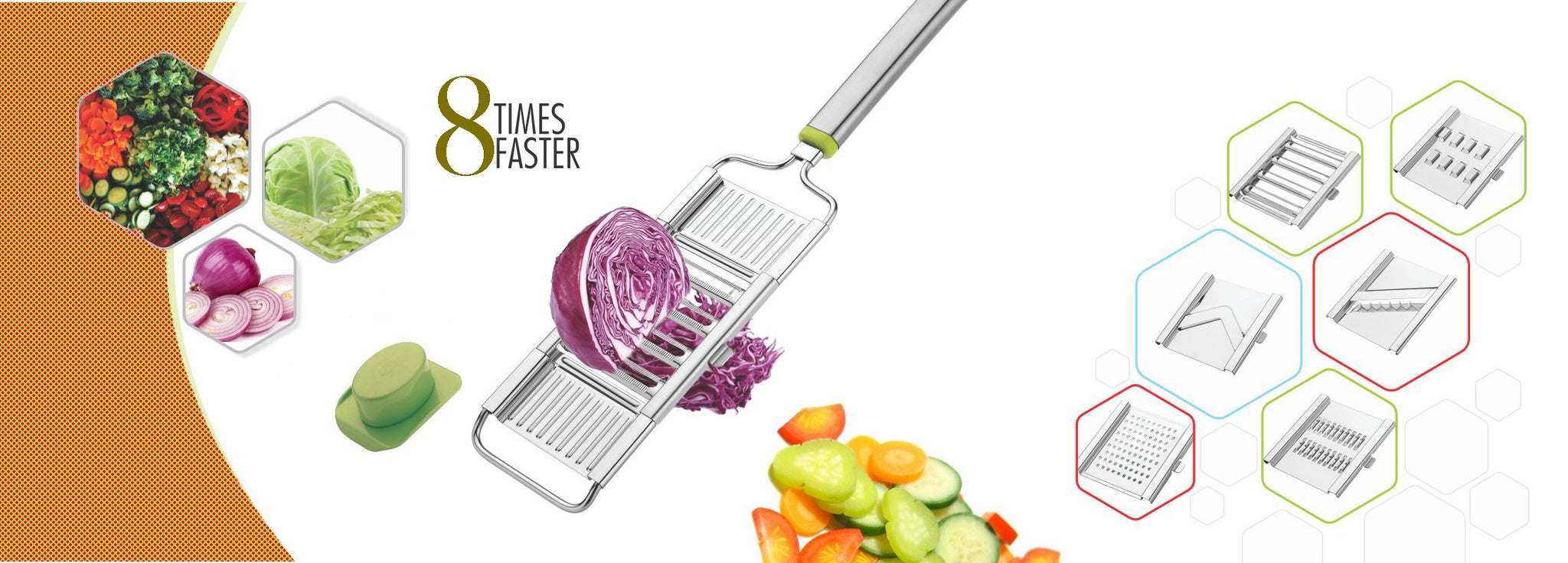 6 in 1 Stainless Steel Kitchen Chips Chopper Cutter Slicer and Grater with Handle