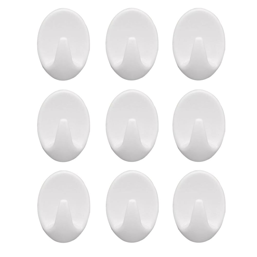 1544 Self Adhesive Plastic Wall Hook Set for Home Kitchen and Other Places (Pack of 9) - DeoDap
