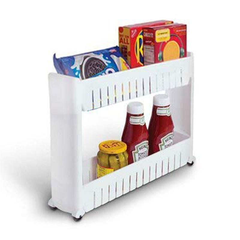 Multipurpose 2 Layer Slim Side Space Saving Storage Organizer Rack Shelf