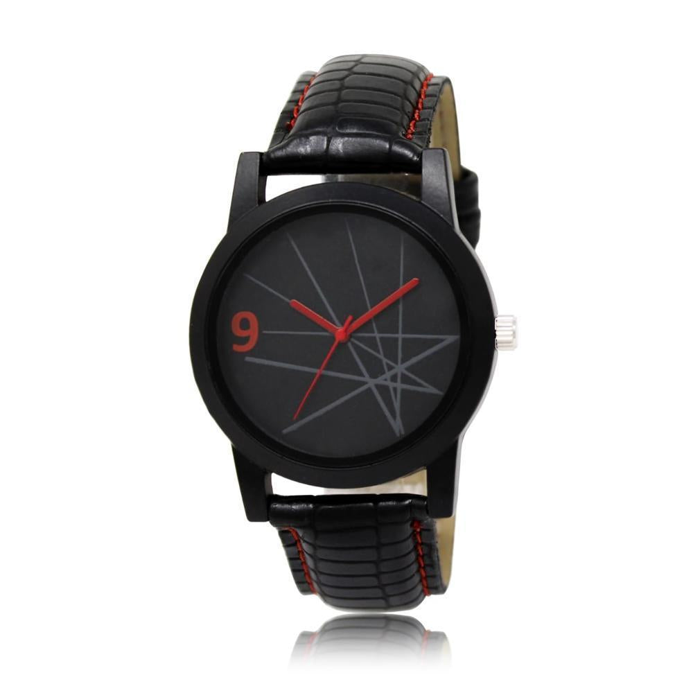 Unique & Premium Analogue Watch Lines with black Dial Leather Strap (Watch 13)