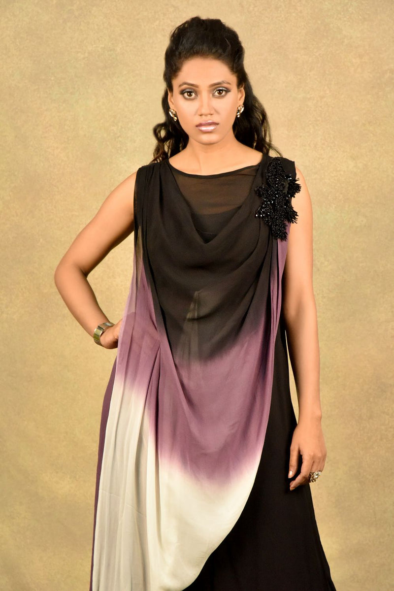 BLACK-DYE OMBRE WAVE DRAPE