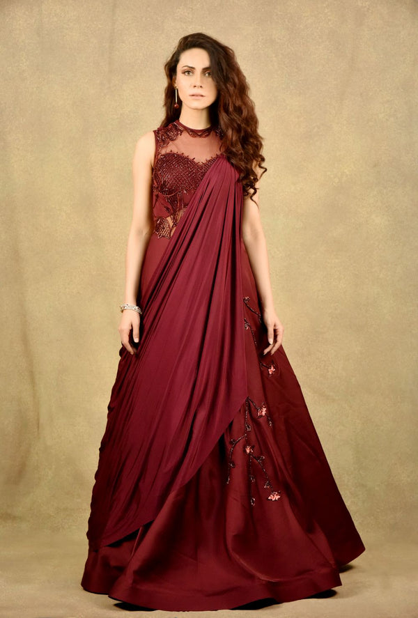 RUBY MARSALA MARY GOWN